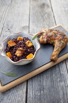Sage Roasted Sweet Potatoes and Black Rice #recipe via FoodforMyFamily.com