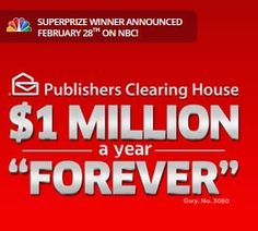 Million A Year For Life PCH .com   $1 Million A Year For Life SuperPrize