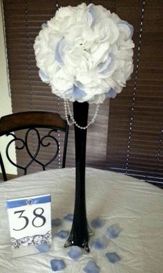 Table Decor Any Ideas?? :  wedding black blue bouquet centerpiece eiffle tower vase pomander ball flower ball diy flowers inspiration reception white Cccpp