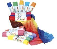 Play Silks.  Simple, hemmed pieces of fabric make good toys.