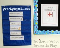 Pocket chart cards for doctor's office dramatic play kit via www.pre-kpages.co...