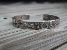 Metalsmith one of a kind rustic, artisan sterling silver cuff accented with gold by JoDeneMoneuseJewelry, $110.00