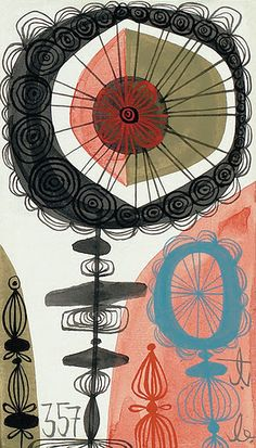 """'Painting #357 From The """"Jackson 500"""" Series' (2006) by American artist Tim Biskup (b 1967). gouache on illustration board, 2.5 x 3 in. via the artist's site"""