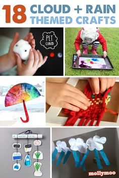 18 of the best Cloud and Rainy Day crafts, activities, picture books and decor ideas | MollyMooCrafts.com craft kids, weather kids, cloud activities, teaching crafts, best preschool books, craft activities, preschool weather, rainy day crafts, best books preschool