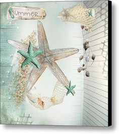 Summer Sea Treasures Canvas Print #starfish #seashells #summer #seahorse #netting #print #canvas #art