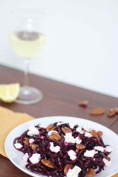 Roasted Beet Noodles with Goat Cheese and Pecans