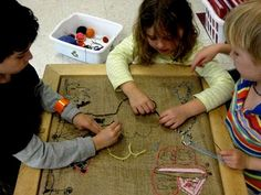 cooperative burlap embroidery project for kids.  Neat idea for a party.
