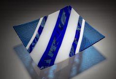 Blue and White Platter by Varda Avnisan (Art Glass Platter) | Artful Home