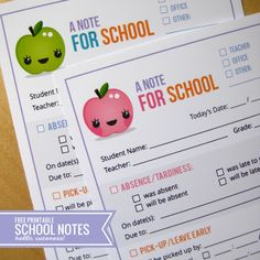 Sick kid? Transportation change? Loving these free printable Notes to School- keep your notes to teachers and staff easy and streamlined. Via hellocuteness.com