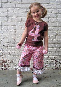 Liliputians Cupcake Dots & Ice Cream Ruffles Birthday Pants Outfit
