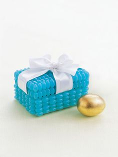"Make your own ""Tiffany"" box. The surprise you put inside if up to you! #easter #crafts"