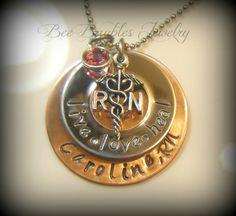 Hand Stamped Jewelry / RN necklace / Nurses / Nursing Student via Etsy