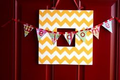 chevron frame & pennant #chevron #yellow #bunting #pennants