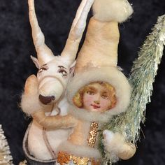 Spun Cotton Snow Girl and Reindeer Victorian Inspired OOAK Christmas Folk Art Ornament Vintage Craft. $95.00, via Etsy.
