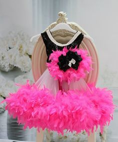 Hot Pink n Black Rosette Girls Feather Dress