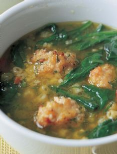 Barefoot Contessa - Italian Wedding Soup made with ground chicken and chicken sausage...YUM!!!