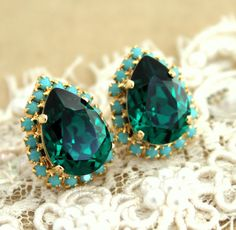 Emerald and Turquoise Crystal big teardrop stud earring by iloniti, $44.00  DROOL...