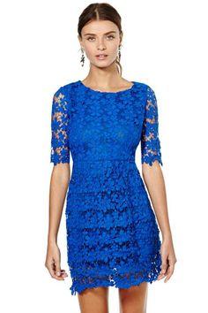 blue floral lace dress