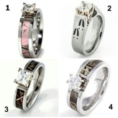 I hope if I get married, someone will purpose to me with one of these. I would say yes no matter who it is! lol! I ABSOLUTLY LOVE CAMO! number 2, pink camo, camo ring, camp wedding, camo wedding, future husband, wedding rings, 5 year anniversary, engagement rings