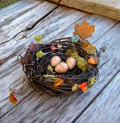 Large Rustic Fall Decor Wire Bird Nest. $57.00, via Etsy. Imagine this unique piece of art on your Thanksgiving table.