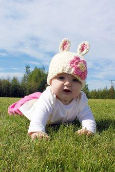 Crochet Pattern - Bunnies n Bears Hat (Size Newborn to Child) $5.50