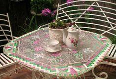 Mosaico Magic: Rescatar una vieja mesa de vidrio Jardín sewing machines, garden projects, mosaic glass, painted furniture, shower doors, garden tabl, mosaic tables, mosaic magic, glass garden