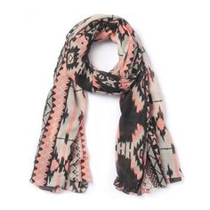 Printed Scarf with Fluorescent Detail Ikat print
