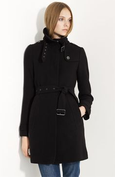 Burberry Brit Belted Wool Blend Coat