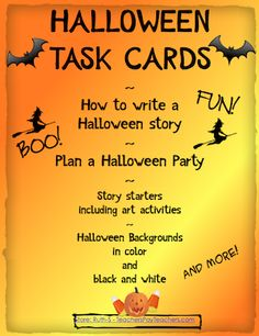 Halloween Task Cards! Open ended activities dare your students to stretch their imaginations! Write a text message between an alien and monster! Write another text message between two glowing eyes, in the dark. 38 pages of fun!