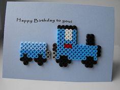Train hama beads Birthday card by Wepo Designs