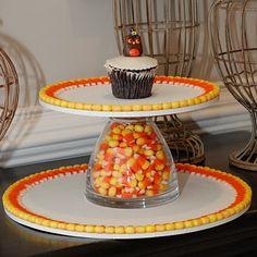DIY candy corn cupcake stand