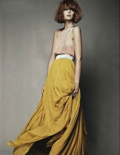 Apparel fashion clothing outfit style women yellow coral dress beautiful