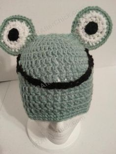 Cute and Easy Frog Beanie Hat Crochet Pattern - free animal hat crochet pattern by cRAfterChick.com