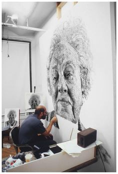 While you may already know Chuck Close as that incredibly talented American artist who creates those huge photorealistic paintings, you may never have seen this mind-blowing piece. Called Fanny/Fingerpainting, it's a beautiful portrait of Close's wife's late grandmother Fanny created with fingerprints!
