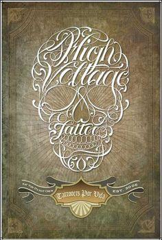 High Voltage Tattooskull script poster