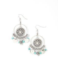 Silver & Turquoise Heart Charm Drop Earrings