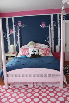 Navy & Pink Teen Girl's Room