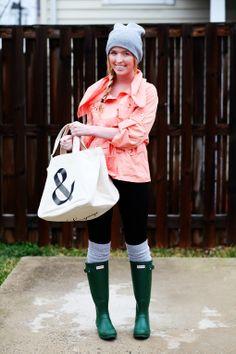 rain coat, rain boots.