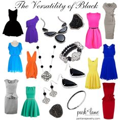 The Versatility of Black  Park Lane Jewelry Featured: On the Town Bracelet, Dynamite Ring in Jet, Fortune Earrings, Fortune Necklace, Fortune Bracelet, Main Attraction Necklace, Main Attraction Earrings, and Tuxedo Ring
