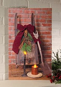 New Primitive ANTIQUE CHRISTMAS RUSTIC SLED CANDLE Lighted Battery Lit Picture  #Country