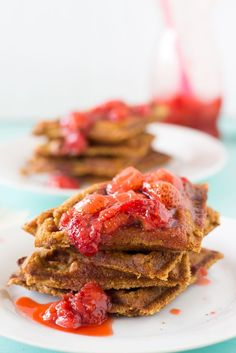 Peanut Butter and Strawberry Jelly Compote Waffles are delicious, reminiscent of pb&j and are gluten free, vegan, refined-sugar free and flo...