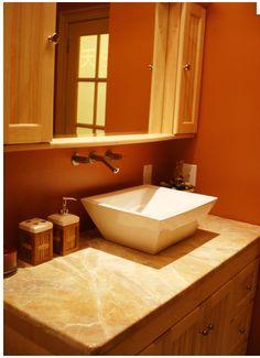 burnt orange bathroom