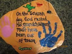 Painting Rocks!!  We made this for grandparents day