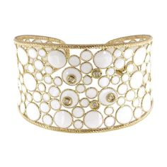 Roberto Coin Bollicine enamel gold and diamond cuff.
