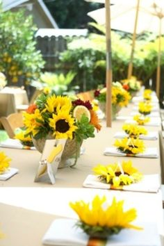 table settings, futur, plan, sunflowers, bridal shower ideas, tabl set, parti, bridal showers, baby showers