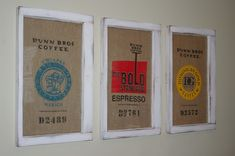So clever -- the work of Tammy at Housing a Forest.  Repurposed coffee sacks and vintage windows.