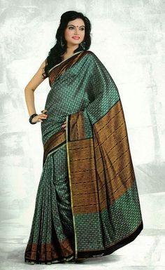 USD 38.17 Green Silk Printed Saree   37120