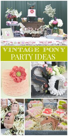 This vintage pony party features a peach ruffle cake, horse cake pops and a beautiful dessert table!  See more party ideas at CatchMyParty.com!
