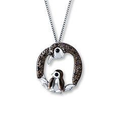 Penguin Necklace 1/10 ct tw Black Diamonds Sterling Silver