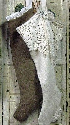 holiday, burlap, christma stock, sweater, knit socks, lace tops, rustic christma, christmas stockings, filet crochet